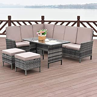 Tangkula 5 Pieces Patio Furniture Set Wicker Rattan Steel Frame Patio Outdoor Garden Conversation Set High Back Sectional Sofa Set with Tempered Glass Top Dining Table