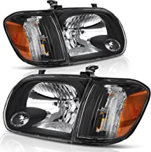 Headlight Assembly for 05 06 Toyota Tundra Double/Crew Cab, 05 06 07 Sequoia Headlamp Replacement, Black Housing Clear Lens