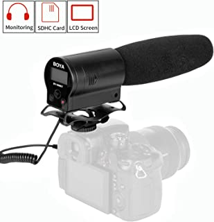 BOYA by-DMR7 Shotgun Condenser Microphone Broadcast Quality with Integrated Flash Recorder & LCD Display for Canon Nikon Sony DSLR Cameras and Video Cameras (TRS)