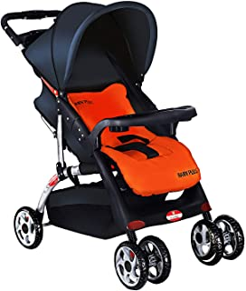 BABY PLUS Sunshade Canopy Pram Stroller for Newborn, Navy/Orange, BP4959NAVY/ORANGE