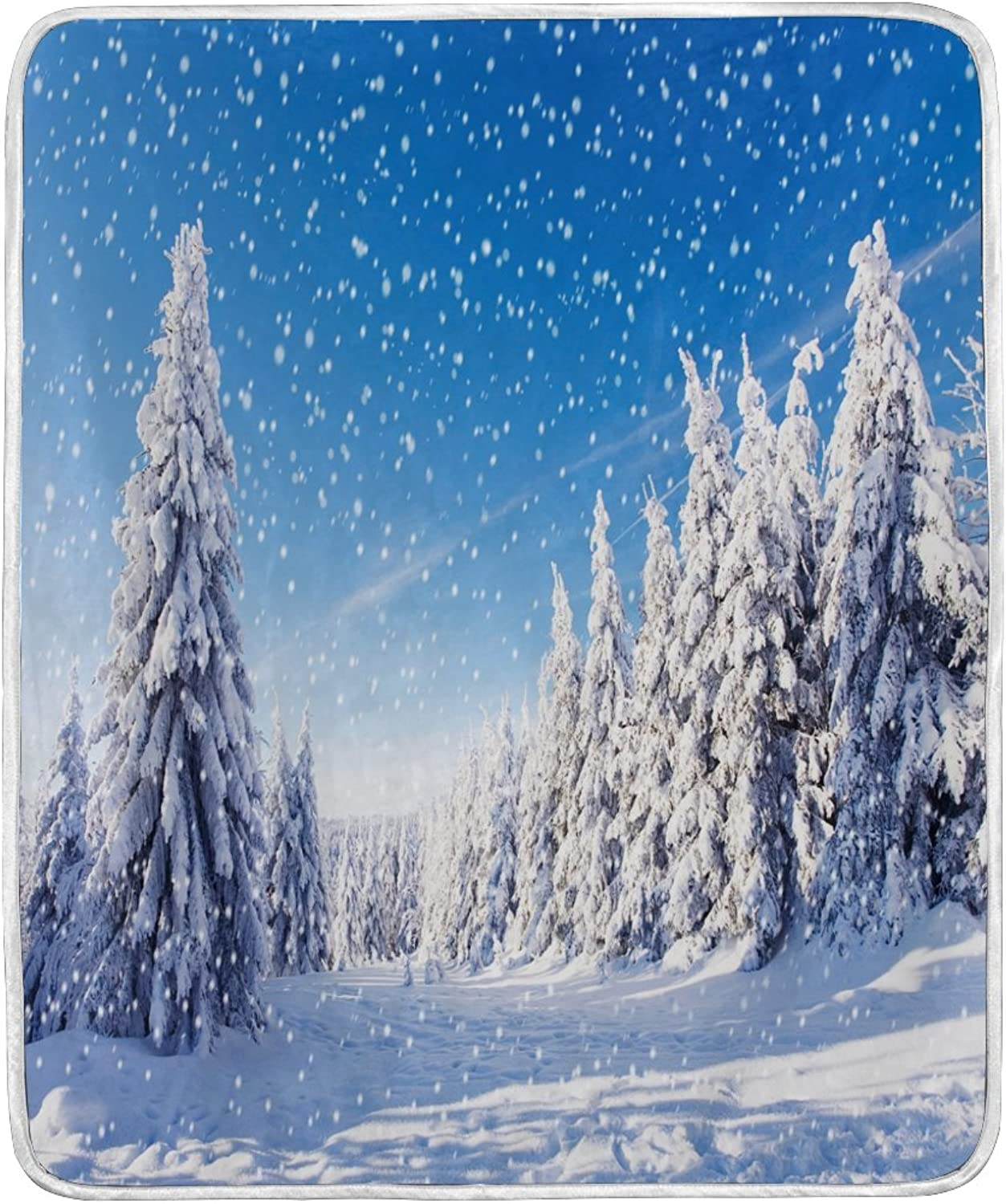 ALAZA Home Decor Snow Forest Landscape Winter Blanket Soft Warm Blankets for Bed Couch Sofa Lightweight Travelling Camping 60 x 50 inch Throw Size for Kids Boys Women