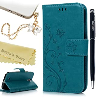 S4 Case,Samsung Galaxy S4 Case - Mavis's Diary Premium Wallet PU Leather Fashion Embossed Floral Butterfly Design Magnetic Flip Cover with Hand Strap Card Holders - Blue Case & Dust Plug & Pen