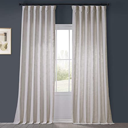 Amazon Com Hpd Half Price Drapes Boch Ln1855 84 Faux Linen Blackout Room Darkening Curtain 1 Panel 50 X 84 Oyster Home Kitchen