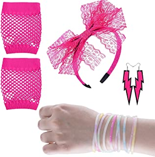 Women's 80s Fancy Dress Accessories Lace Headband Neon Earrings Fingerless Fishnet Gloves Bracelet for Fashion Retro 80s Party Outfit Costume Set Ladies and Girls (Pink4PCS)
