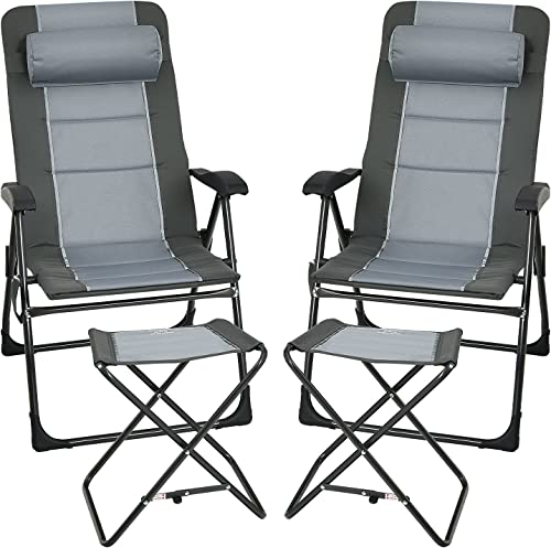 lowest Giantex Set of 2 Patio Dining Chairs with Ottoman, Folding Recliner Chairs with 7-Position Adjustable Backrest, Headrest, high quality Mesh Bag, new arrival Outdoor Portable Lounge Chairs for Poolside Backyard, Grey sale