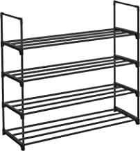 SONGMICS Shoe Rack, 4-Tier Shoe Organizer, Hold up to 20 Pairs of Shoes, Stackable Shoe Tower for Living Room, Entryway, Black ULSA14BK