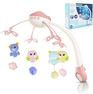 Melödi Baby Musical Crib Mobile with Hanging & Rotating Toys | Bassinet Mobile Crib with Lights, Music Box and Timer | Halo Hanger Crib Toy for Newborn Baby Girls & Boys with Night Light - Pink