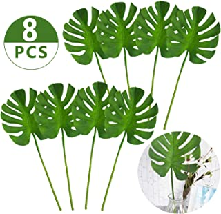 PiXiu-XP 24.5 inch Stem Artificial Tropical Monstera Palm Tree Leaves for Home Decorations (8pcs)