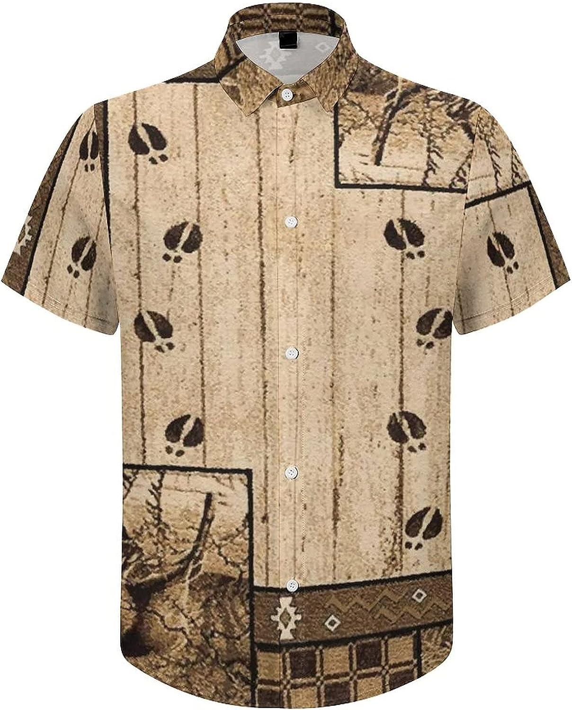 Men's Short Sleeve Button Down Shirt Rustic Deer Wooden Mountain Summer Shirts