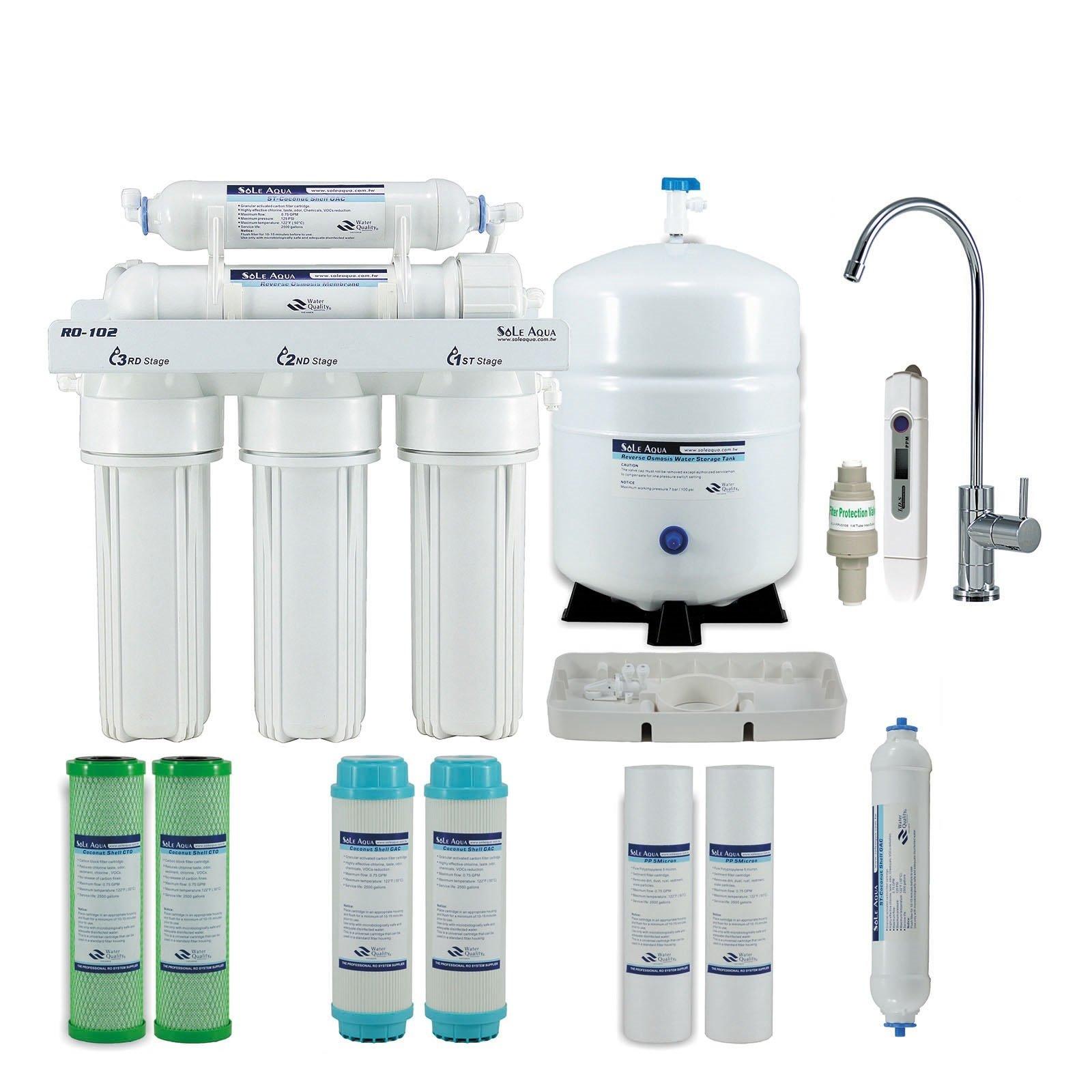 Sole Aqua 5 Etapa casa purificador de agua potable bajo una mesa Sistema de ósmosis inversa