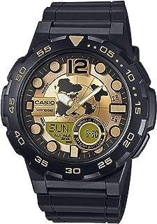 ساعة كاسيو ستاندرد للرجال - عرض انالوج-رقمي بسوار من الراتنج - Aeq-100Bw-9Av، سوار اسود