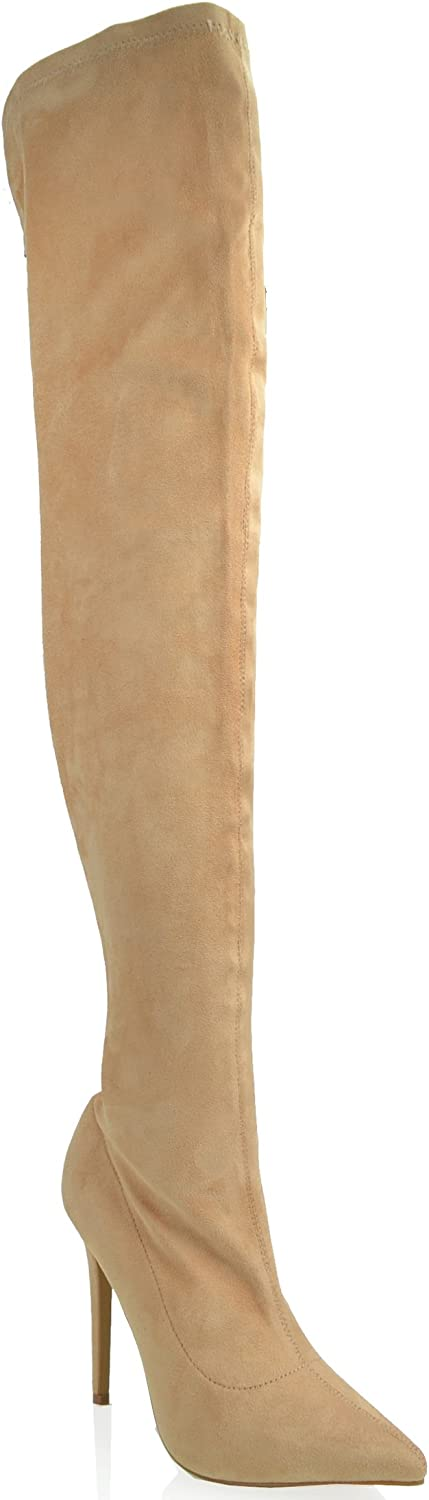 shoes Republic Thigh High Pointy Toe Stilleto Boots Austere