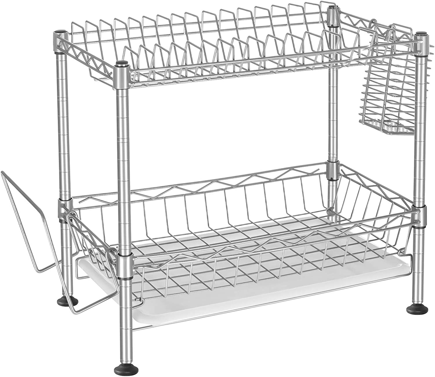 SONGMICS 2-Tier Max 62% OFF Dish Rack Drainer Cutlery Drain Tray Sacramento Mall with