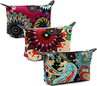 HOYOFO Women's Cosmetic Bags Travel Small Makeup Storage Pouch Cosmetic and Toiletries Organizer Bag Pack of 3, C set