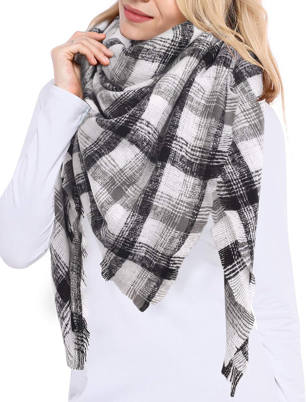 Bess Bridal Women's Plaid Blanket Winter Scarf Warm Cozy Tartan