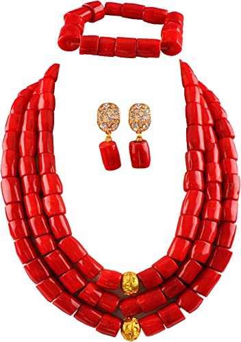 laanc 3 Rows Nigerian Wedding Coral Necklace Earrings Bracelet African Beads Jewelery Bride Jewelry Sets