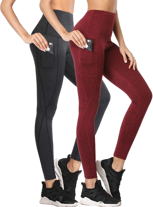 Neleus Women's Tummy Control High Waist Leggings with Pockets