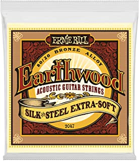 Ernie Ball P02047 Earthwood Silk and Steel Extra Soft 80/20 Bronze Acoustic Guitar String, 10-50 Gauge