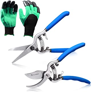 SPEEDWOX Pruning Shears Gardening Hand Pruner Set 8 Inches Garden Scissors and Bypass Pruning Shears Handing Pruner Garden...