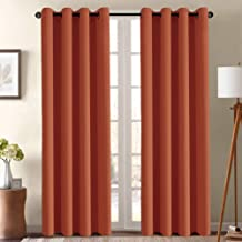 Blackout Curtain for Living Room 96 Inch Long Thermal Insulated Grommet Window Treatment Panel for Bedroom, Energy Saving Curtain for Large Window Door, Thick and Soft - Orange Ochre - Set of 1 Panel