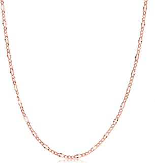Kooljewelry 14k Rose Gold Figaro Link Chain Necklace (14, 16, 18, 20, 22, 24, 26, 30 or 36 inch)