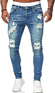 Lachi Mens Skinny Holes Jeans Ripped Straight Hip Hop Biker Stretchy Jeans Destroyed Tranfold Faded Abraised