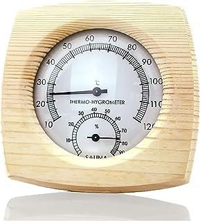 Termómetro digital de madera interior y exterior e higrómetro a prueba de explosiones de alta temperatura e higrómetro se ...