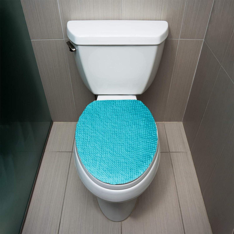 blaugr/ün gro/ß maschinenwaschbar Chenille passend f/ür die meisten Toilettendeckel Pl/üschbezug extra weich t/ürkis Flauschiger Griff WC-Deckelbezug