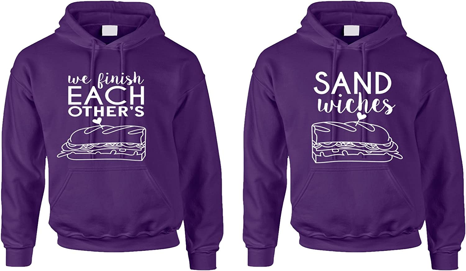 Allntrends Couple Hoodies We Finish Each Other's Sandwiches Valentine's Day