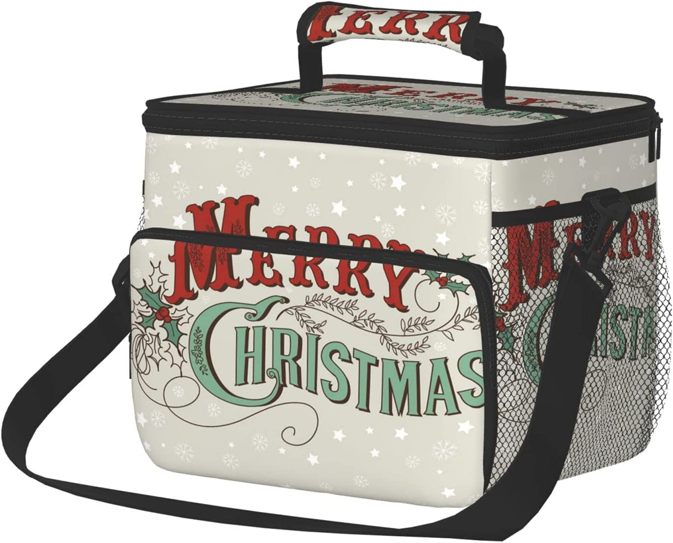 Insulated Lunch Box Reusable Max 55% OFF Tote Brand new Xmas Large Bag Stars