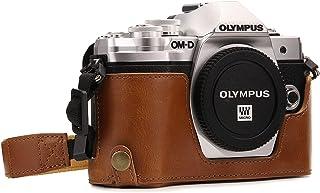 MegaGear MG971 para Olympus OM-D E-M10 Mark II E-M10 Estuche Ever Ready Media Funda Estuche de Base Funda de Cuero de Pronto Uso con Correa - Marrón Claro