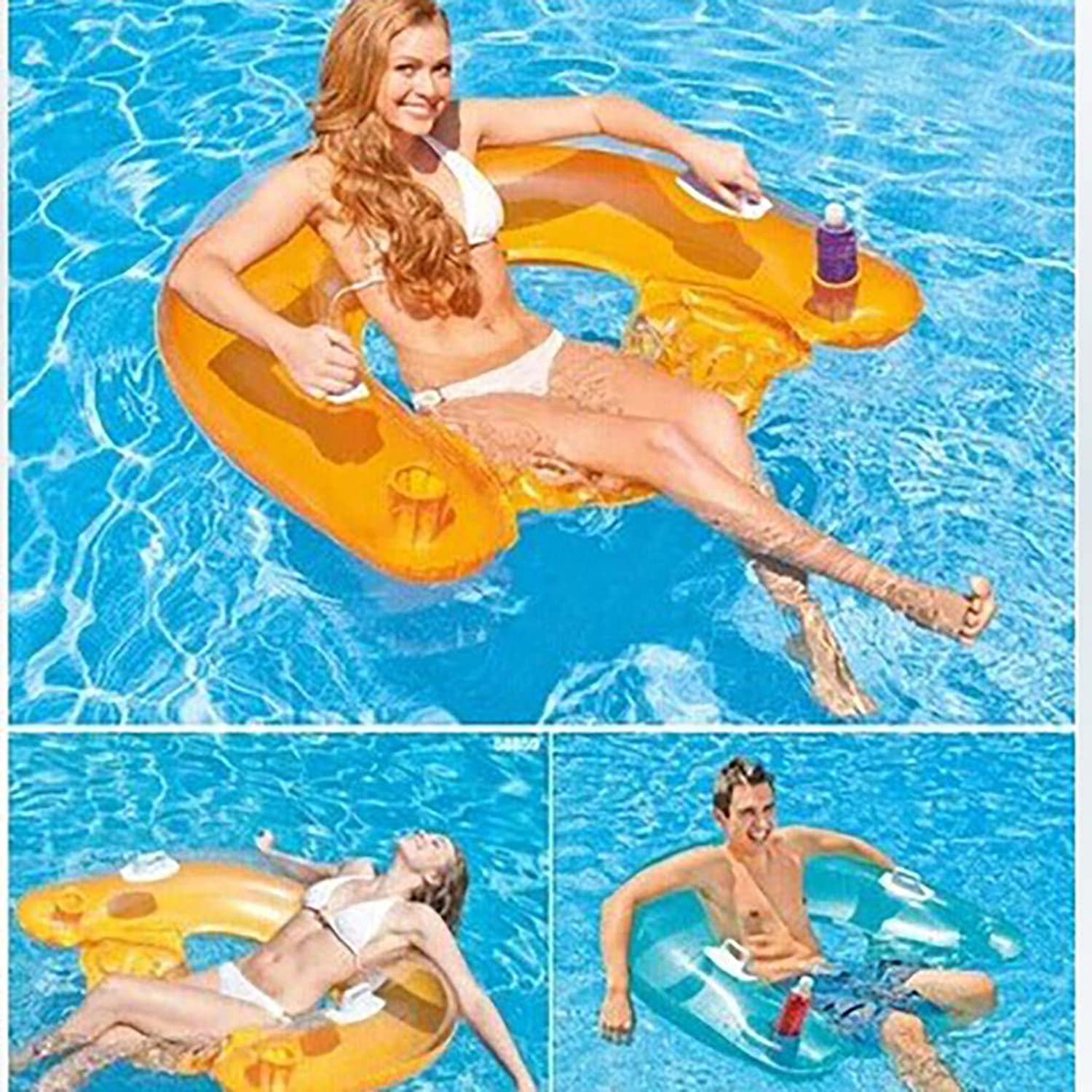Iusun Inflatable Swimming Floating Row, Seated Clear Handrail Backrest Luxury loating Bed Water Play Raft Tube Swim Ring for Outdoor Pool Lake Beach color Random