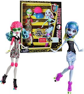 Monster High Mattel Year 2012 Skultimate Roller Maze Series Exclusive 2 Pack 10 Inch Doll Set - Daughter of The Zombies Ghoulia Yelps and Daughter of The Yeti Abbey Bominable with 2 Helmets