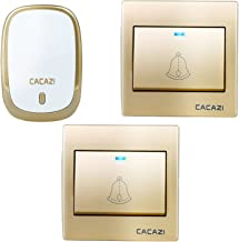 CACAZI Wireless Doorbell Waterproof Door Bell Kit, 36 Chimes with 1000 Feet Operating, 4 Level Volume, 2 Push Button Transmitter and 1 Receiver with Sound and LED Flash (Gold)