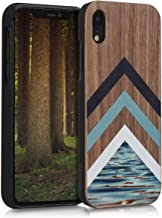 kwmobile Wood Case Compatible with Apple iPhone XR - Non-Slip Natural Solid Hard Wooden Protective Cover - Wood and Water Light Blue/White/Dark Brown