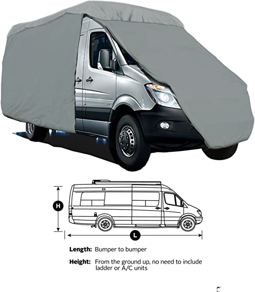 RV Motorhome Class B 4-Layer Outdoor Winter Storage Cover Grey Fits up to 23/'