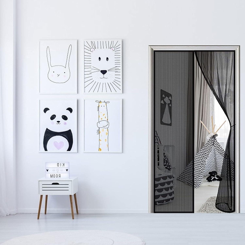 WEIZON Cortina Mosquitera para Puertas 105 x 210 cm Mosquitera Puerta Magnetica,Cortina Puerta Exterior Magnética Automático con Durable para Puertas Correderas Negro