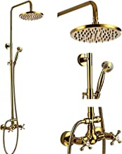 Shower Fixture 8 Inch Rainfall Shower Head with Handheld Spray Polish Gold Dual Knobs Mixer Bathroom Shower Combo Set Wall...