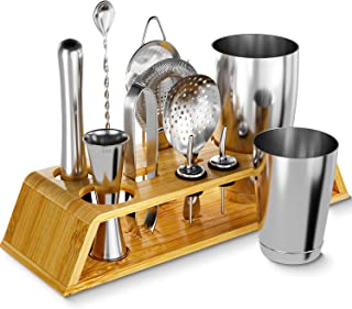 12-Piece Silver Cocktail Shaker Set with Bamboo Stand, Weighted 18 & 28oz Boston Shakers and Bar Tools Set Using Premium S...