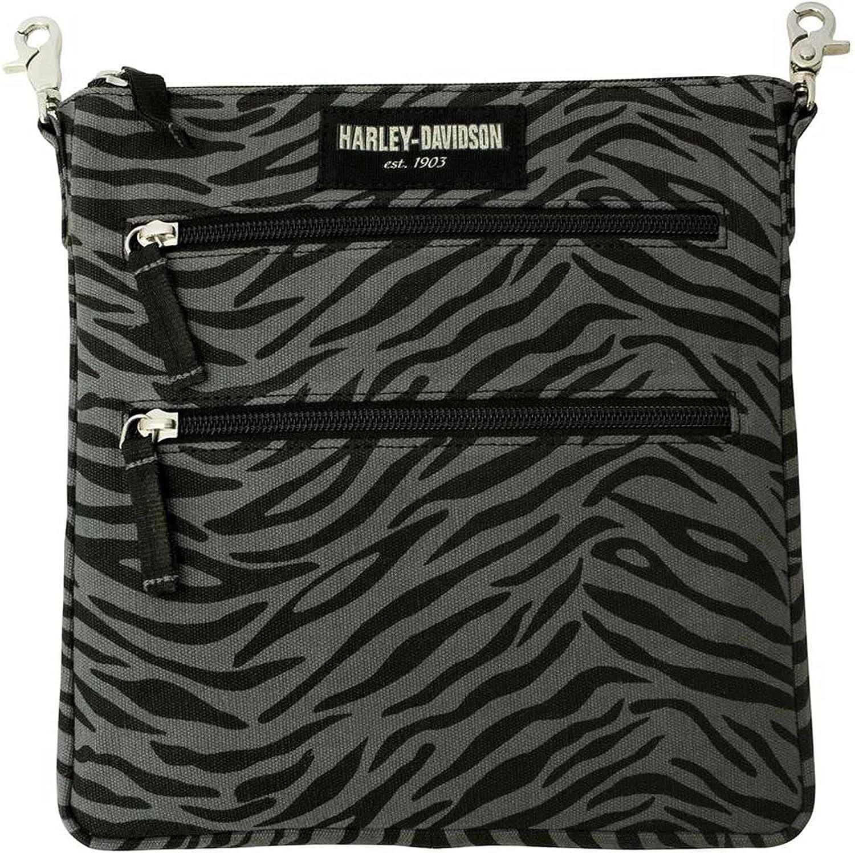 Harley-Davidson Women's Zebra Print Cotton Canvas Crossbody/Clip Bag Purse