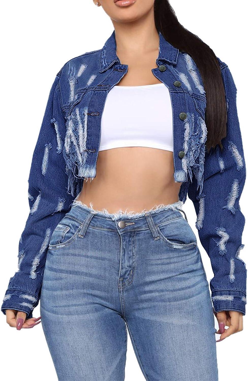 UpdateClassic Womens Long Sleeve Ripped Jacket Button Down Wash Denim Jean Jacket Casual Cropped Denim Coat Street Out Wear