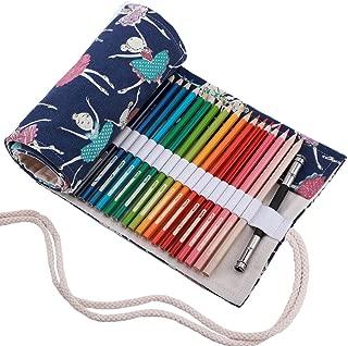 Abaría - Bolso de lapices bolsa de almacenamiento hecho de mano estuche enrollable lápices de lona, chica 72 agujeros