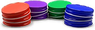 TheLidCollection Mason Jar Lids 12 Pack: Blue, Green, Red, Purple | Made In USA | One Piece Airtight Metal Regular Mouth | Kitchen Supplies, Accessories, Essentials, Cooking, Organization