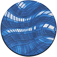Round Area Rug Abstract Blue Squares Comfy Non-Slip Living Bedroom Rug Bath Door Mat Indoor Outdoor Mats Rug Pads