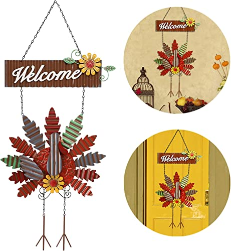 popular yosager Thanksgiving Metal Turkey Hanging Door Sign Wall Decor Welcome Banner, Welcome Front 2021 Door Hanger Ornament Festive Whimsical for Halloween Christmas outlet online sale Thanksgiving Decoration online