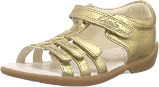 Clarks Girl's Kiani Glo FST Gold Leather Clogs