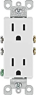 Leviton 5325-WMP 15 Amp, 125 Volt, Decora Duplex Receptacle, Residential Grade, Grounding, White, 10 count