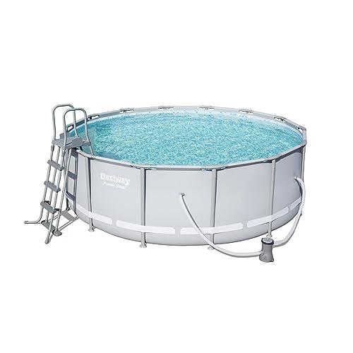 Bestway Power Steel Frame Pool Komplettset, rund, grau, 427 x 122 cm