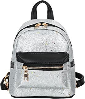 ManxiVoo Cute Mini Sequins PU Leather Backpack Fashion Small Daypacks Purse Satchel for Women