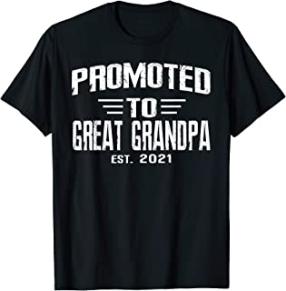 Mens Promoted to Great Grandpa 2021 Family Pregnancy announcement T-Shirt